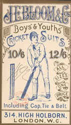 Advert for JE Bloom & Co, boy's & youth's outfitters, reverse side
